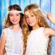 Children friends girls hippie retro style smiling together — Stock Photo