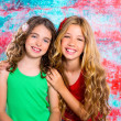 Friends beautiful children girls hug together happy smiling — Stock Photo