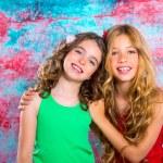 Friends beautiful children girls hug together happy smiling — Stock Photo #28273229