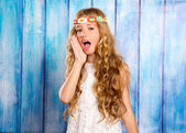 Hippie children girl shouting expression with hand in mouth — Stock Photo