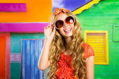 Blond children happy tourist girl smiling with sunglasses — Stock Photo
