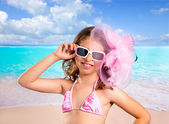 Children fashion girl in tropical turquoise beach vacations — Stock Photo