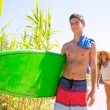 Teenager surfers waling to the beach — Stock Photo #30639397