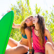Happy crazy teen surfer girls smiling on car — Stok fotoğraf