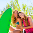 Happy crazy teen surfer girls smiling on car — Stock Photo #30644509