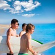 Surfer teen boys talking on beach shore — Stock Photo