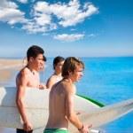 Surfer teen boys talking on beach shore — Stock Photo #30646855