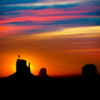 Sunrise at Monument Valley at Mittens and Merrick Butte — Stock Photo