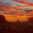 Monument Valley sunset Mittens and Merrick Butte — Stock Photo