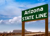 Road sign between Utah and Arizona State Line — Stock Photo