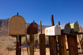 Mailboxes aged vintage in west California desert — Stock Photo