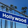 Stock Photo: Hollywood California road sign on redlight with pam trees photo
