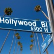 Hollywood Boulevard with sign illustration on palm trees — Stock Photo #31988249