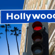 Hollywood Boulevard sign illustration on palm trees — Stock Photo