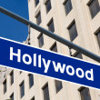 Hollywood  sign illustration over LA boulevard — Stock Photo