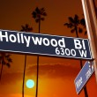 Hollywood Boulevard with Vine sign illustration on palm trees — Stock Photo #31988515