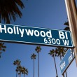 Hollywood Boulevard with sign illustration on palm trees — Stock Photo #31988523