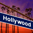 Stock Photo: Hollywood Californiroad sign on redlight with pam trees photo