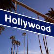 Hollywood redlight sign illustration over LA Palm trees — Stock Photo #31988739