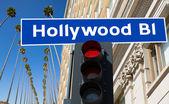 Hollywood Boulevard sign illustration on palm trees — Stock Photo