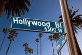 Hollywood Boulevard with sign illustration on palm trees — Stock Photo