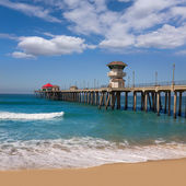 Huntington beach Surf City USA pier view — Stock Photo
