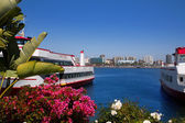 Long Beach California skyline from flowers port — Stock Photo