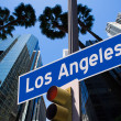 LA Los Angeles sign in redlight photo mount on downtown — Стоковая фотография