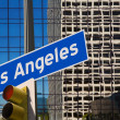 Stock Photo: LLos Angeles downtown wit road sign photo mount