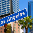 LLos Angeles sign in redlight photo mount on downtown — Stock Photo #31993251