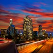 Downtown LA night Los Angeles sunset skyline California — Stockfoto