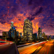 Downtown LA night Los Angeles sunset skyline California — Stock Photo #31993737