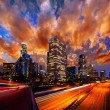 Downtown LA night Los Angeles sunset skyline California — Stock Photo #31993937