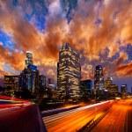 Downtown LA night Los Angeles sunset skyline California — Stock Photo
