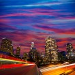 Stock Photo: Downtown LA night Los Angeles sunset skyline California