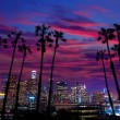 Stock Photo: Downtown Lnight Los Angeles sunset skyline California