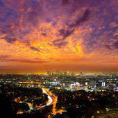 Downtown LA night Los Angeles sunset skyline California — Stock Photo