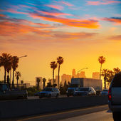 LA Los Angeles sunset skyline with traffic California — Stock Photo