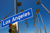 LA Los Angeles palm trees in a row road sign photo mount — Stock Photo