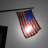 US american symbol flag over Black and white city — Stock Photo