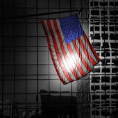 US american symbol flag over Black and white modern LA — Stock Photo