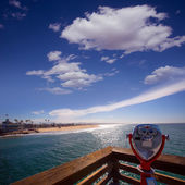 Newport beach in California view from pier telescope — Stock Photo