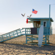 Santa Monica beach lifeguard tower in California — Stock Photo
