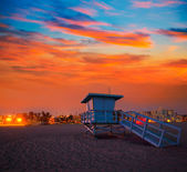 Santa Monica California sunset lifeguard tower — Stock Photo