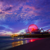 Santa Monica California sunset on Pier Ferrys wheel — Stock Photo