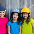 Sister and friends sport kid girls portrait smiling happy — Stock Photo