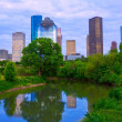 Houston Texas modern skyline from park river — Stok Fotoğraf #32490001