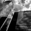 Black and white Houston Texas downtown mirror buildings — Stock Photo