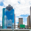 Stock Photo: Houston Texas Skyline with skyscapers and blue sky