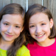 Stock Photo: Happy twin sisters smiling on wood backyard fence